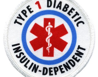 TYPE 1 DIABETIC Insulin Dependent Medical Alert White Rim Sew-on Patch (Choose Size)