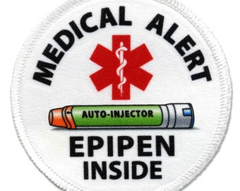 EpiPen Jr Auto - Injector Inside Medical Alert White Rim Sew-On Patch (Choose Size)