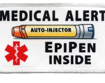 Medical Alert Yellow EpiPen Auto - Injector Inside Rectangle 2.5 x 4.5 inch Sew- On Patch (Choose Rim Color)