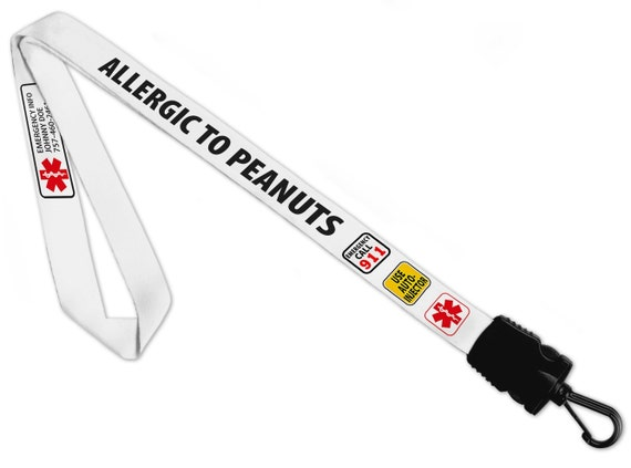 Creative Clam Allergic To Peanuts Medical Alert 34 Inch Warning Info Lanyard Strap