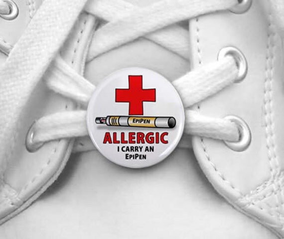 Allergic I Carry and Epipen Medical Alert Pair of 1 inch Shoe Tag Charms