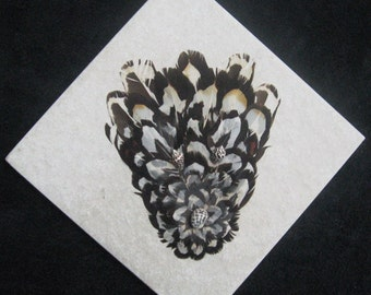 Spirit in Black and White Feathers on Tile
