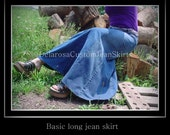 Custom to Your Size Long Jean Skirt size 18 20 22 24 26