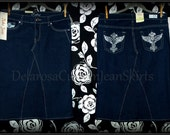 Custom to your size New with tags Kaba brand Jean Skirt below the knee size 0,1,3,5,7,9 DARK WASH with bling back pockets