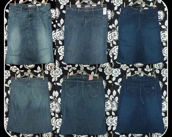 DELAROSA Custom to your size short Jean Skirt below the knee size 20 22 24