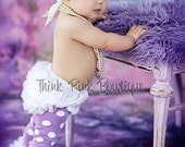 purple with white polka dots ruffled baby and toddler leg warmers