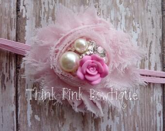 shabby chic pink headband, rhinestone frayed flower headband baby girl, infant, toddler, adult.