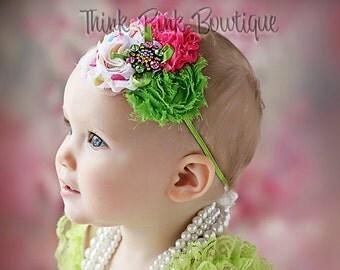 Green pink and dots baby headband, baby headbands, Baby girl headband, newborn headband, flower headband,toddler headband, Baby hair bows.