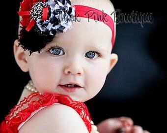 Baby headband, Newborn Headband, Hair Bows, Baby Bows, Red and black headband, flower headband, headband, shabby chic roses headband