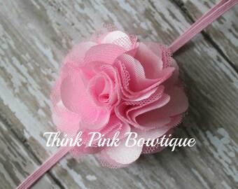 Pink headband, baby headband, flower headband, headband, shabby chic roses headband