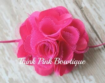 Hot pink Headband, baby headband, flower headband, headband, shabby chic roses headband