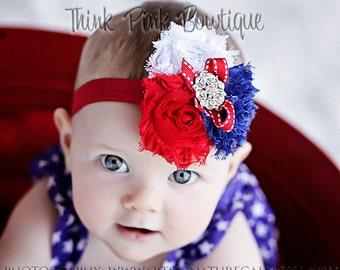Baby headband, Fourth of July headband, Patriotic Headband,Baby Headbands,Newborn Headband,Shabby Chic Headband,July 4th baby headband,#27