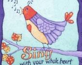 Original Acrylic Painting on Canvas, titled SING, bird painting, Nursery Art, purple lavender orange blue