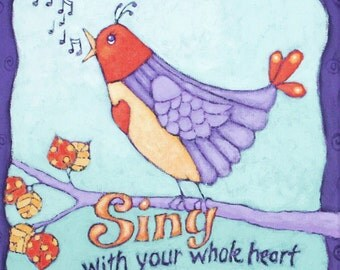 Original Acrylic Painting on Canvas, titled SING, bird painting, Nursery Art, purple lavender orange blue
