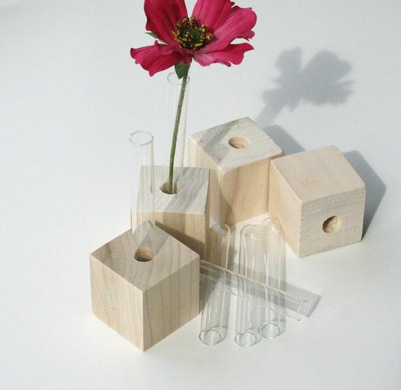 Bud Vases, Set of Four, DIY, do it yourself, flower test tube vases, small vases, unfinished