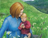 """Mother & child in peaceful mountain landscape surrounded by grass and lilies - Original Mixed Media Art - """"Abundance"""""""