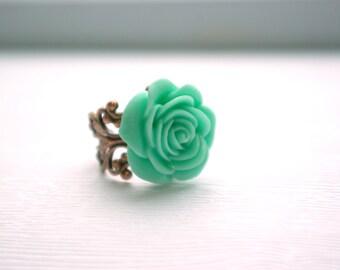 Grande Mint Rose on Antique Brass Filigree Ring