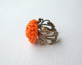Sale - Grande Orange Chrysanthemum Ring