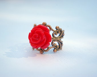 Mediano Red Rose on Copper Filigree Ring