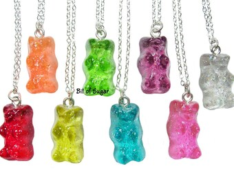 Candy Bear Necklace - Kawaii fake gummy miniature food jewelry