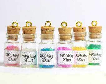 Wishing Dust Bottle Necklace - star shaped fairy magic dust in miniature bottle charm pendant