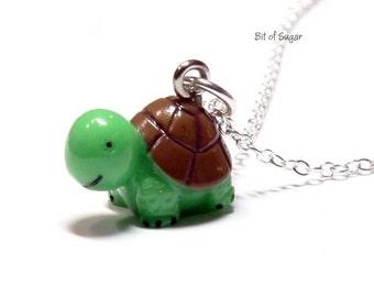 Green Turtle Charm Necklace - Kawaii cute miniature animal pendant