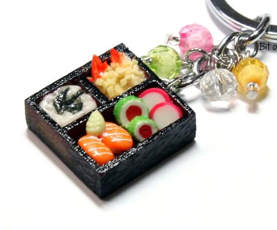 Japanese Food Keychain - Miniature Food Bento Box with sushi, rice, and shrimp tempura keyring key chain ring