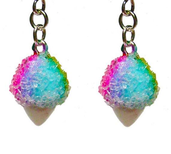 Snow cone Earrings - Rainbow Hawaiian Shave Ice - cute kawaii snowcone jewelry