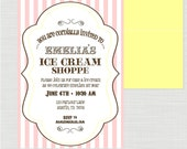 Ice Cream Shope Birthday Party Printable Invitation - anna and blue paperie