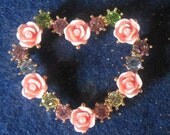 Brooch Vintage Avon JJJ Pink Roses And Colored Rhinestone Heart Brooch