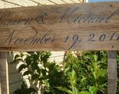 Wood wedding sign Double sided sign with two stakes Rustic Wooden Indoor/Outdoor Wedding Directional Sign