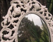 Vintage Large Ornate Mirror - Cast Metal - Shabby Chic Cherub - Antique White