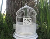 RESERVED for IrelandsOwn - Vintage Birdcage - Large White Domed Metal Bird Cage with 2 Glass Feeders - Lovely Wedding Decor