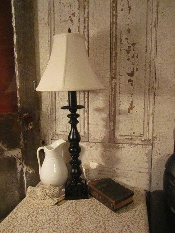 Vintage Turned Wood Table Lamp on Marble Base  - Architectural Spindle Salvage Style - Get the Look ETSY Featured