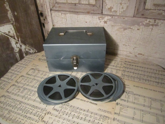 RESERVED for KingPhillip - Vintage Reel to Reel Metal Box with 2 Films in Canisters - Tool Box - Teal Green - Abbot & Costello and Ali Baba