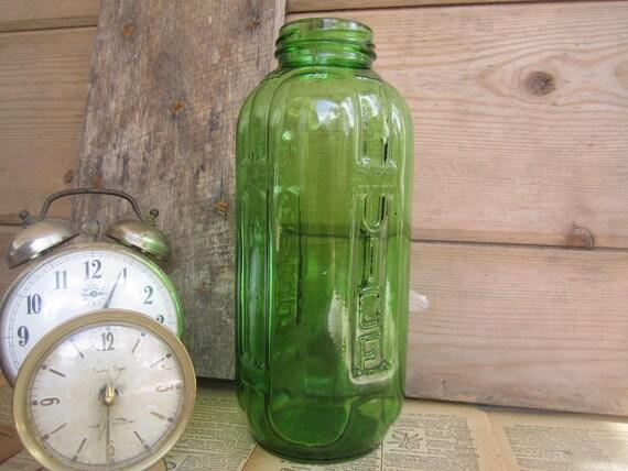 Vintage Green Glass Water & Juice Bottle - 40 oz.