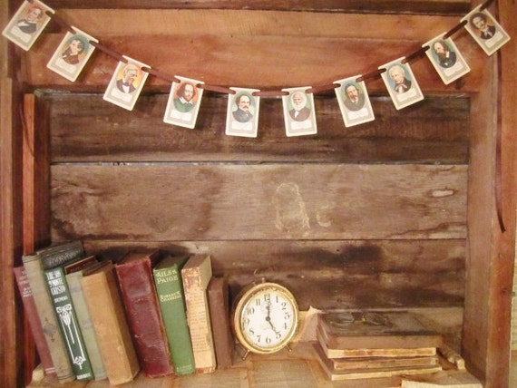 Vintage AUTHORS Banner - Shakespeare, Poe, Emerson, Dickens & More - Literature and Authors Repurposed Game