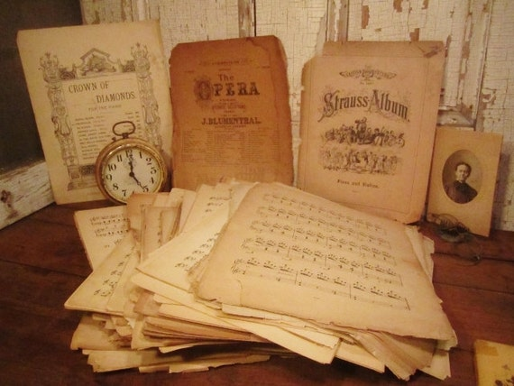 Vintage sheet music and music pages collection of 50 pages for Retro house music