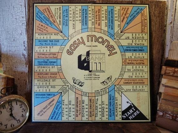 Antique EASY MONEY Game Board - 1936 Milton Bradley