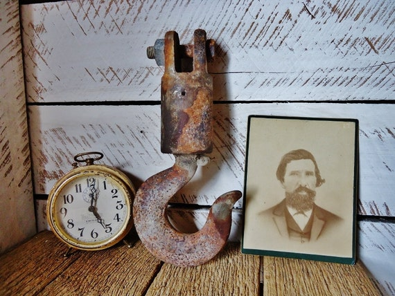 RESERVED for Lora - Vintage Cast Iron Hook - Large Industrial Tool