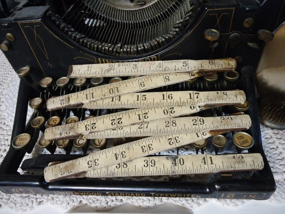 Vintage Wooden Folding Ruler - White Wood Numbers