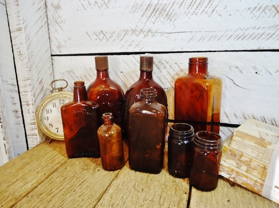 Vintage Amber APOTHECARY Bottles & Salvaged Jars - Set of 8 - Instant Collection