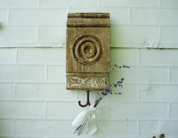 RESERVED for September - Antique Salvaged Wooden Jewelry Holder - Key Hooks - Wall Hooks