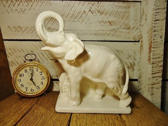 RESERVED for Dawn - Vintage White Elephant Ceramic Flower Pot