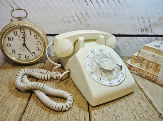 Vintage White Telephone - Rotary Dial