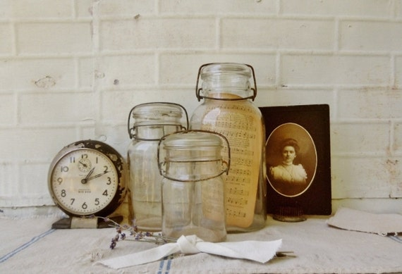 Vintage Lightning Canning Jars with Wire Bale Handles  - Set of 3