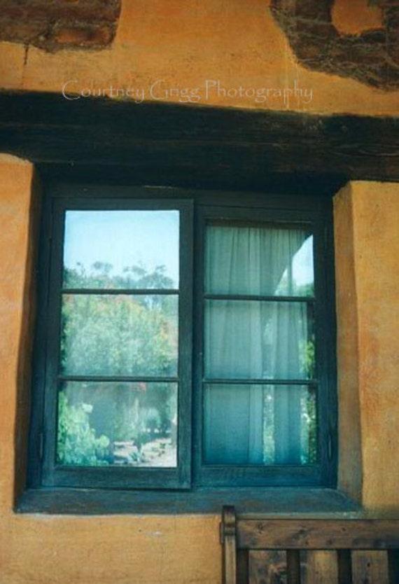 SALE -Mission Window (5 x 7 matted photograph) -garden, reflection, summer-