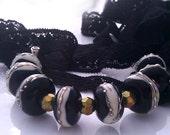 "Black ""Colorblind"" Handmade Lampwork Beadset (8) SRA"