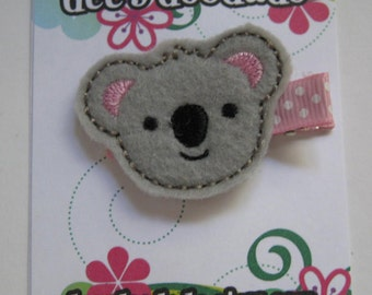 Kayla the Koala Felt Embroidered Hair Clip