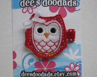 Red & White 2 Toned Ollie the Owl Hair Clip